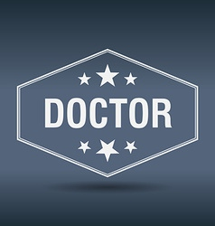 Doctor hexagonal white vintage retro style label vector