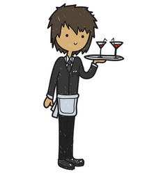 doodle style cartoon waiter vector image