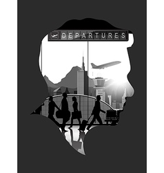 Double exposure with airport background vector image