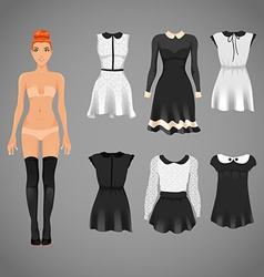 Dress up paper doll with an assortment of classy vector