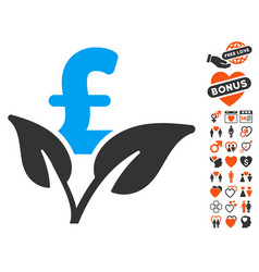 Eco pound business startup icon with love bonus vector