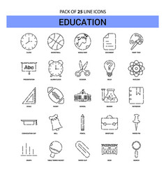 Education line icon set - 25 dashed outline style vector