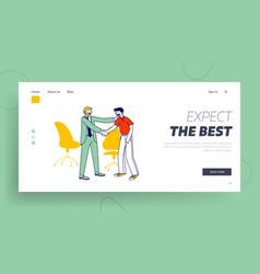 Encouraging website landing page company boss vector