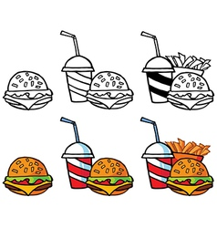 Fast food designs vector