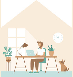 freelancer man work remotely from home vector image
