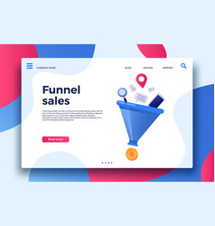 funnel sales landing page business marketing vector image