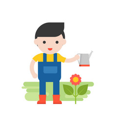 gardener with flower and watering can set vector image