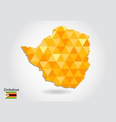 Geometric polygonal style map of zimbabwe low vector