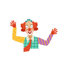 Happy funny circus clown cartoon friendly clown vector