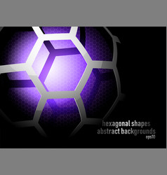 hexagonal shapes on black vector image