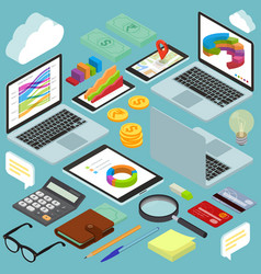 Isometric busines office workspace elements vector
