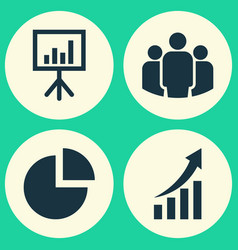 Job icons set collection of group presentation vector