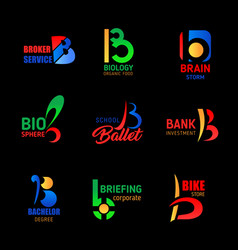 letter b creative icons corporate identity design vector image