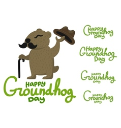 Lettering for Groundhog Day groundhog with a vector