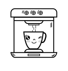Line kawaii cute funny coffee maker technology vector