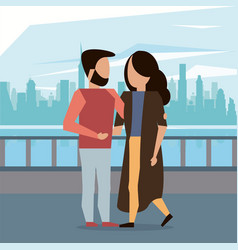 man and woman couple hugging vector image
