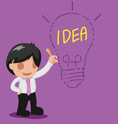 Man Thinking Drawing Lamp Idea vector