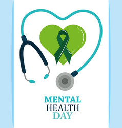 Mental health day ribbon in green heart vector