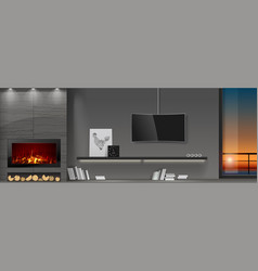 Modern interior with fireplace vector