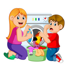Mother and son doing laundry vector