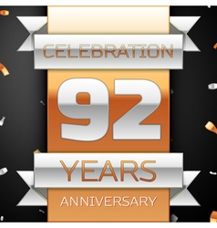 Ninety two years anniversary celebration golden vector