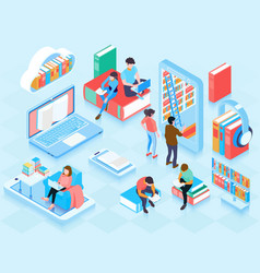 online library isometric elements composition vector image
