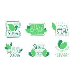 organic stevia logo templates set natural vector image