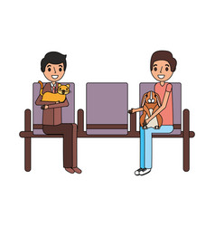 owners with rabbit and cat waiting on chairs vector image
