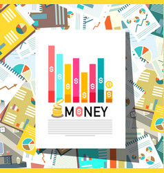 paperwork background with money graph on top paper vector image