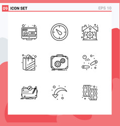 Pictogram set 9 simple outlines work vector