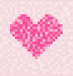 pixel pink heart symbol square pattern vector image