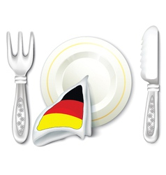 Plate Fork Knife with Germany Flag vector image