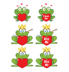 princess frog cartoon character 3 collection set vector image