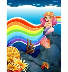 Rainbow and mermaid vector image vector image