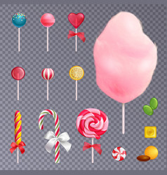 realistic sweets transparent background set vector image