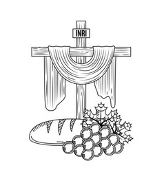 Sacred cross communion bread and bunch grapes vector