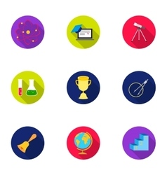 School set icons in flat style Big collection of vector