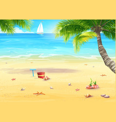 Sea shore with palm trees shells bucket and vector
