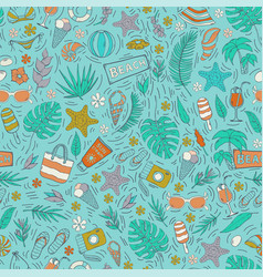seamless pattern with summer vacation vector image