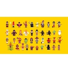 Set of characters for Halloween in a flat style vector image