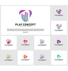 set of play media city logo design concept stats vector image