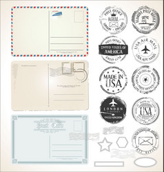 set postal stamps and post cards on white vector image