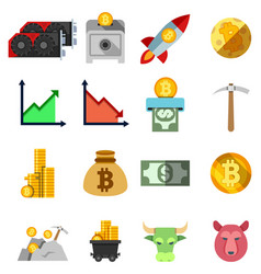 set twelve cripto currency flat icons vector image