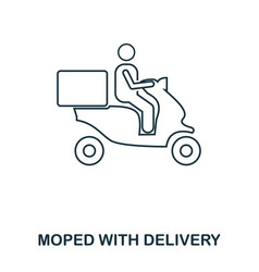 simple outline moped food delivery icon pixel vector image