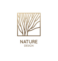 Square abstract tree emblem vector