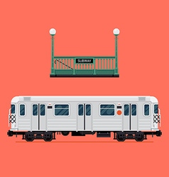 Subway train icon set vector