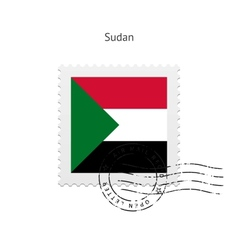 Sudan Flag Postage Stamp vector