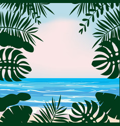 summer tropical background with exotic floral vector image