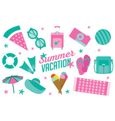 summer vacation icon set in flat cartoon style vector image