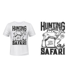 Tshirt print with antelope sketch african safari vector